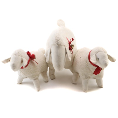 Handmade Plush Lambs, Mid-20th Century