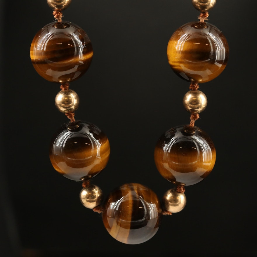 Beaded Tiger's Eye Necklace with 14K Spacer Beads