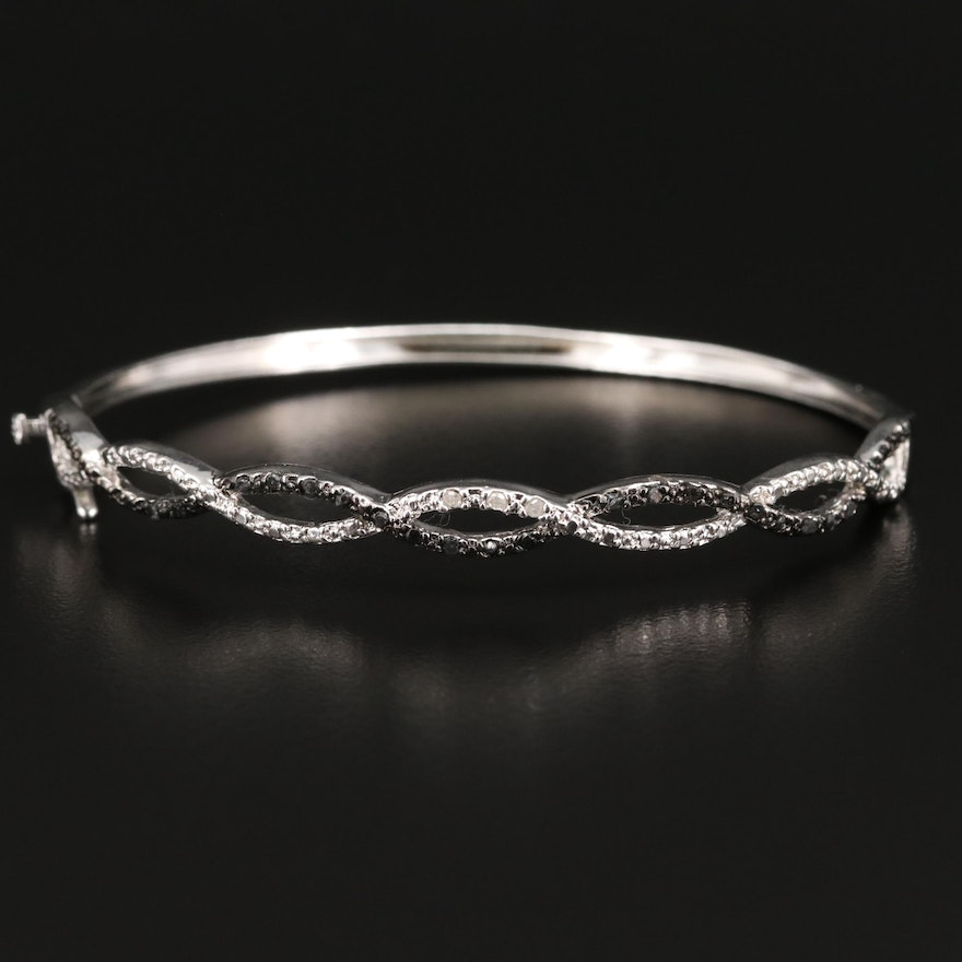 Sterling Silver Diamond Hinged Bangle with Twisting Design