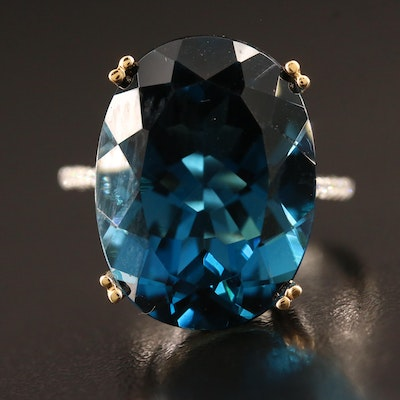 14K 21.23 CT Topaz and Diamond Statement Ring