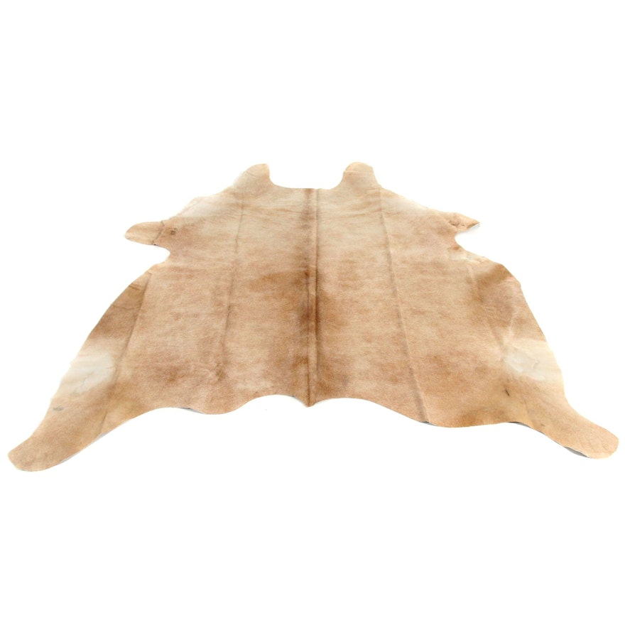 6'2 x 7'0 Natural Light Brindle Cowhide Area Rug