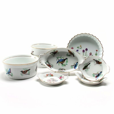 Lourioux Porcelain Bakeware Including Bird and Floral Motifs, Mid-Late 20th C.