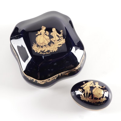 """Limoges Castel """"The Proposal"""" and """"Courting"""" Rococo Style Cobalt Porcelain Boxes"""