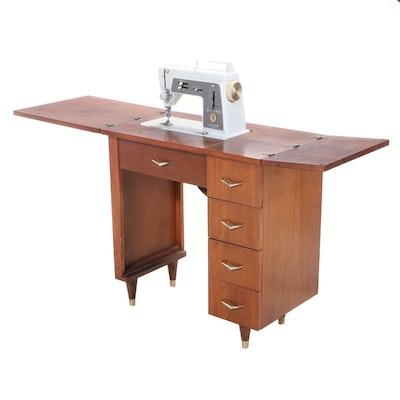 Singer Mid Century Modern Walnut Sewing Table, Mid 20th Century