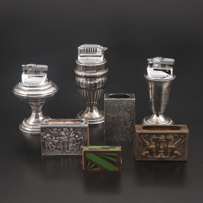 Sterling Silver Table Lighters, with Art Deco, Repousse and Chased Match Boxes