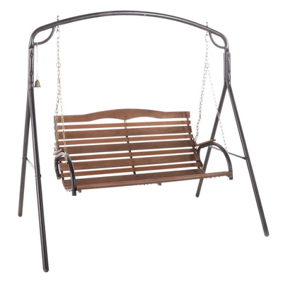 Freestanding Wood and Metal Frame Bench Swing, Late 20th Century