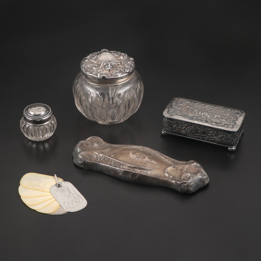 Webster Sterling Silver Chatelaine Aide Memoire and Other Vanity Accessories