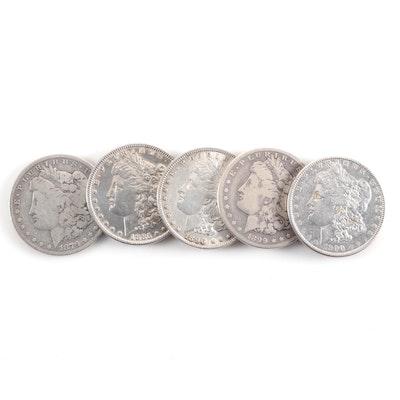 Five Circulated Morgan Silver Dollars