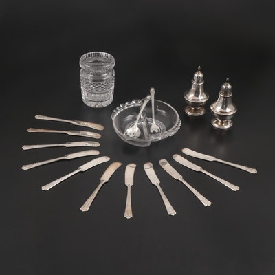 Manchester Sterling Shakers and Other Tableware Including Waterford