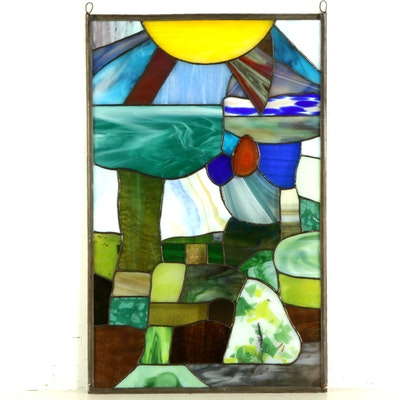 Glenn Greene Stained Glass Landscape Window Panel, 2019