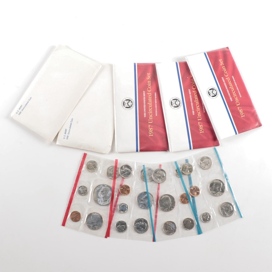 Eight U.S. Mint Uncirculated Coin Sets
