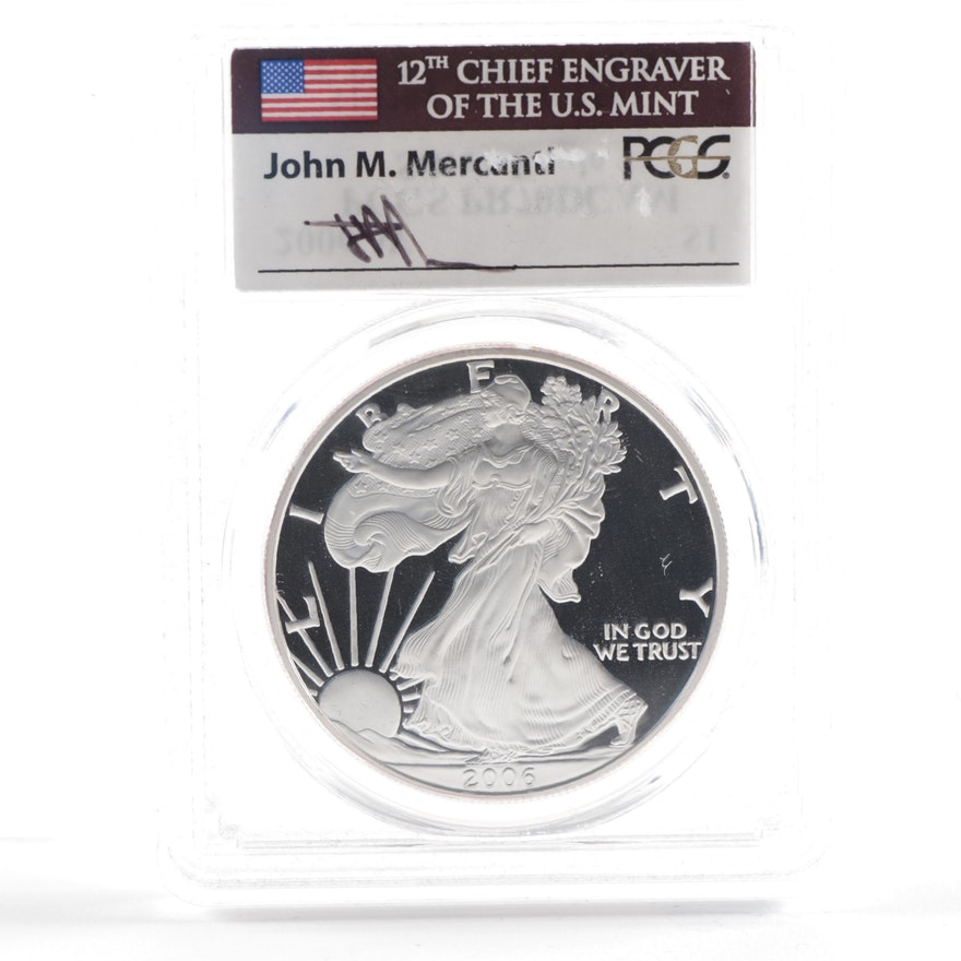 PCGS Graded PR70 DCAM Signed 2006-W Proof Silver Eagle with COA