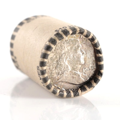 Roll of Twenty Silver Franklin Half Dollars, 1963