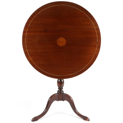 Federal Style String and Patera-Inlaid Walnut Tilt-Top Tripod Table