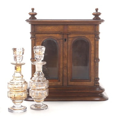 French Figured Maple Perfume Casket and Pair of Gilded Glass Bottles, 19th C
