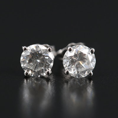 Platinum 1.45 CTW Diamond Stud Earrings with GIA Reports