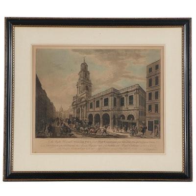Francesco Bartolozzi Hand-Colored Engraving of The Royal Exchange