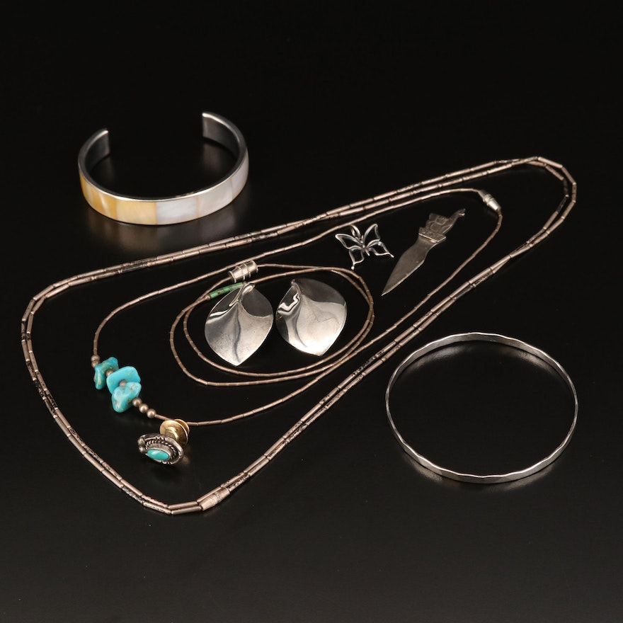 Jewelry Featuring Western Designs, Sterling Silver and Turquoise