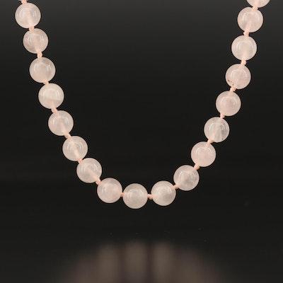 Rose Quartz Knotted Necklace