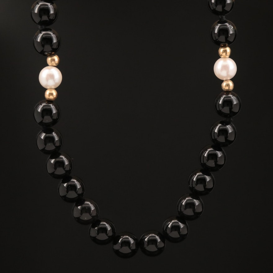 14K Black Onyx and Pearl Necklace with Service Charm