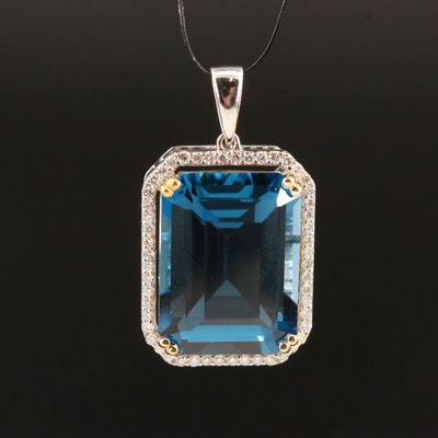 14K 13.50 CT London Blue Topaz and Diamond Pendant