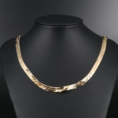 14K Scrap Herringbone Chain Necklace
