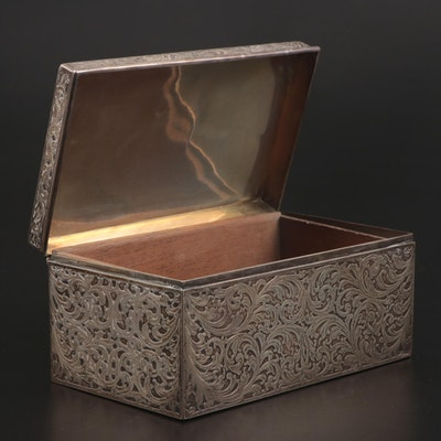 Made for Tiffany & Co. Sterling Silver Filigree Tobacco Box, Early 20th C.