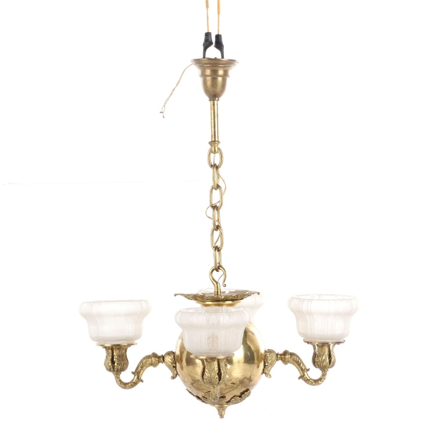 Victorian Style Brass Ball Chandelier and Frosted Glass Shades, Mid-20th Century