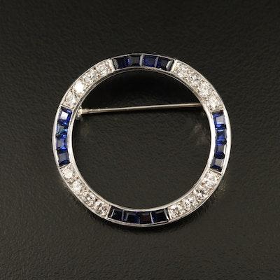 1950s 14K Diamond and Sapphire Circle Brooch