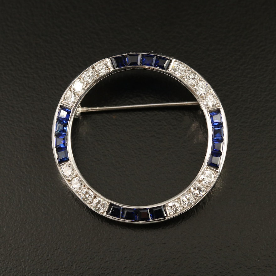 1950s 14K Diamond and Sapphire Circle Brooch