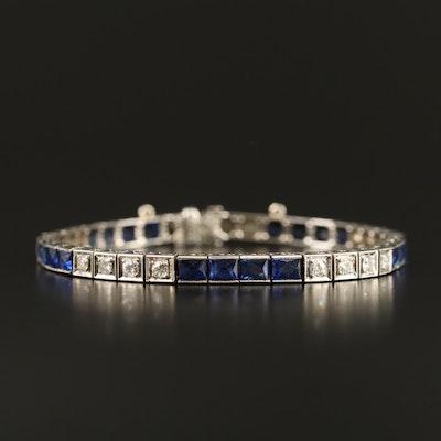 Art Deco Platinum, Sapphire and 1.04 CTW Diamond Line Bracelet