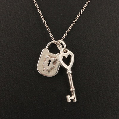 Tiffany & Co. Lock and Key Pendant Necklace