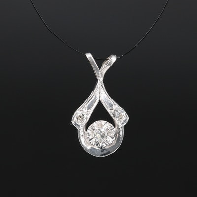 Vintage 14K Illusion Set Diamond Pendant