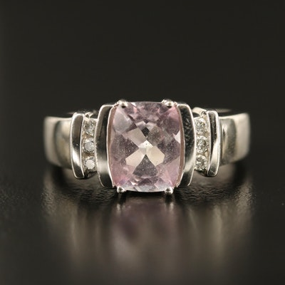 14K Pink Topaz Ring with Diamond Accents