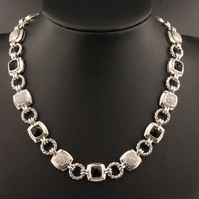 "David Yurman Sterling ""Renaissance"" Black Onyx and 1.00 CTW Diamond Necklace"