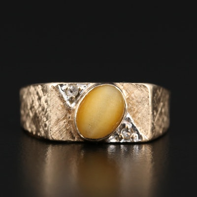 10K Cat's Eye Quartz and Quartz Ring with Florentine Finish
