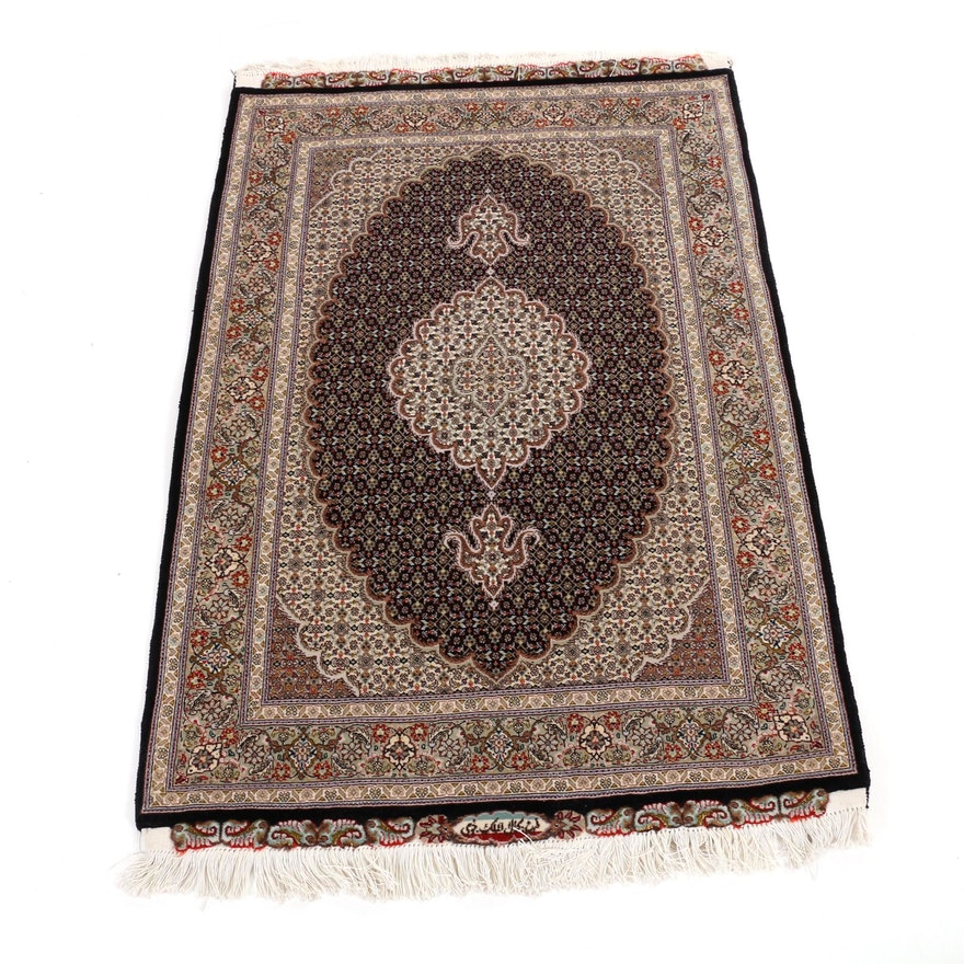 3'5 x 5'7 Hand-Knotted Persian Isfahan Silk Blend Rug, Signed