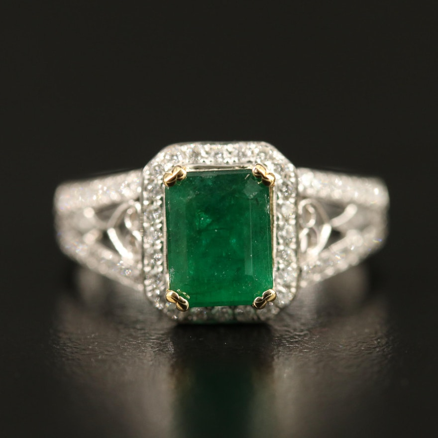 14K 1.37 CT Emerald and Diamond Ring