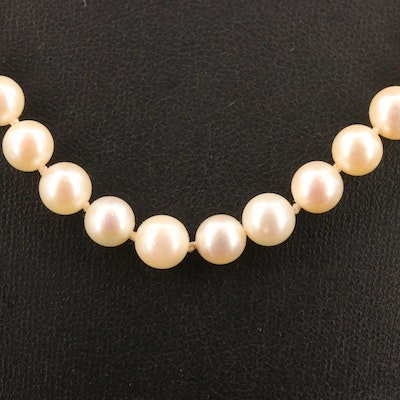Vintage Single Strand Pearl Necklace with 14K Diamond Clasp