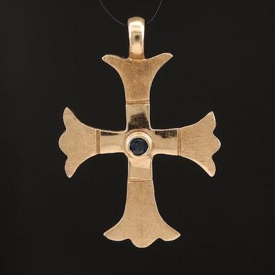 10K Sapphire Cross Pendant