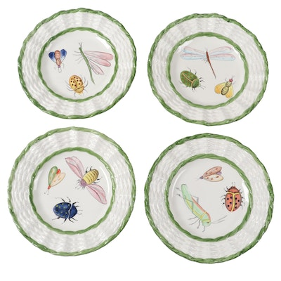 "Mariposa ""Garden Club"" Hand-Painted Ceramic Salad Plates"
