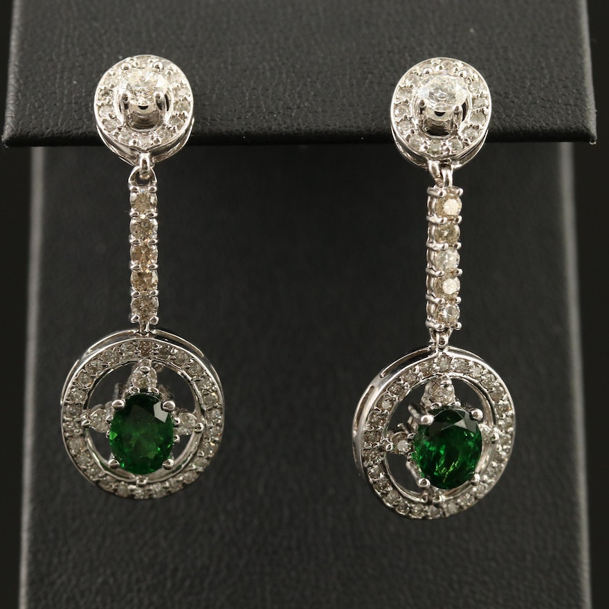 14K Tsavorite 1.62 CTW Diamond Dangle Earrings