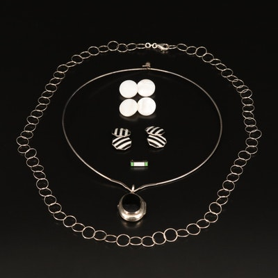 Sterling Silver Necklaces and Locket with Cufflinks and Pin