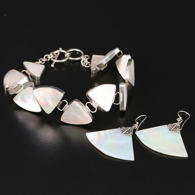 Sterling Mother of Pearl Fan Motif Bracelet and Earrings