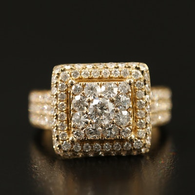 14K 2.30 CTW Square Halo Diamond Ring