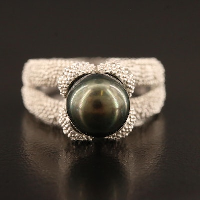 Sterling Silver Pearl Ring with Granulated Texture