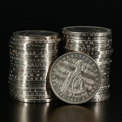 38 Commemorative German 5 Mark Clad Coins, 1968-1986