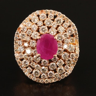 14K Rose Gold Ruby and 4.00 CTW Diamond Multi-Halo Ring