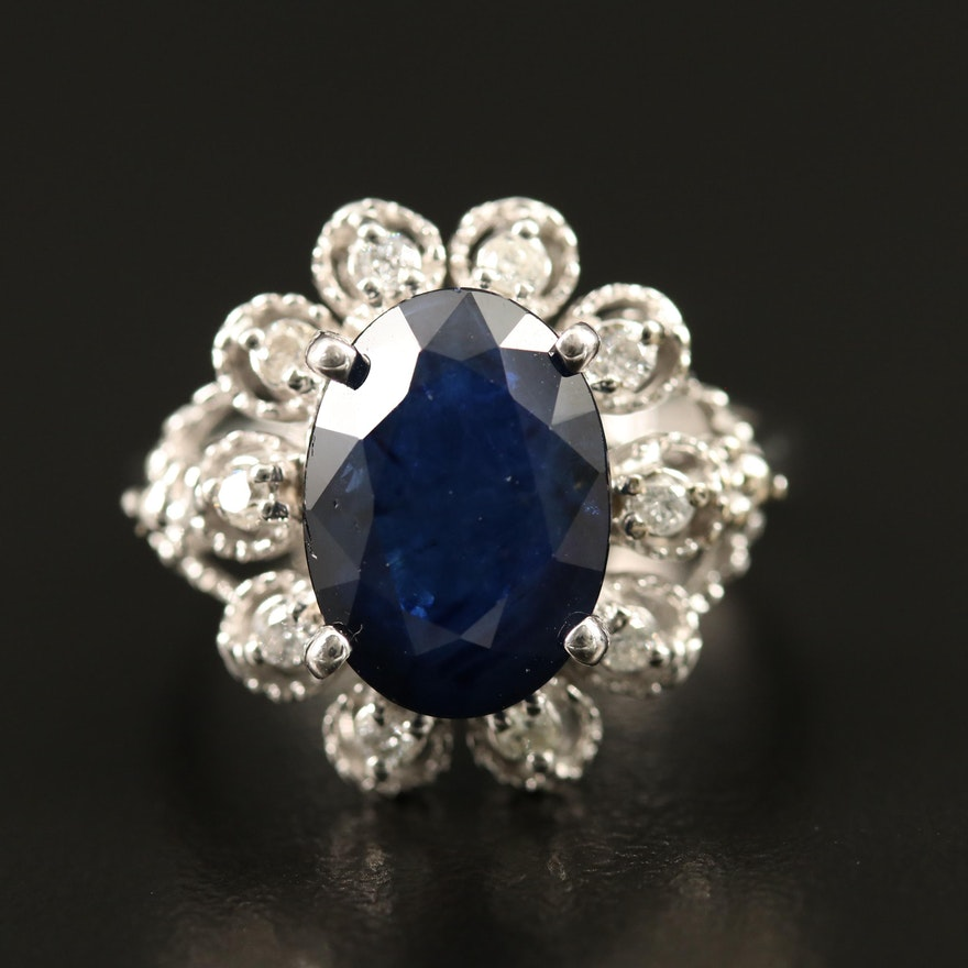 14K 3.93 CT Blue Sapphire and Diamond Ring with GIA Report