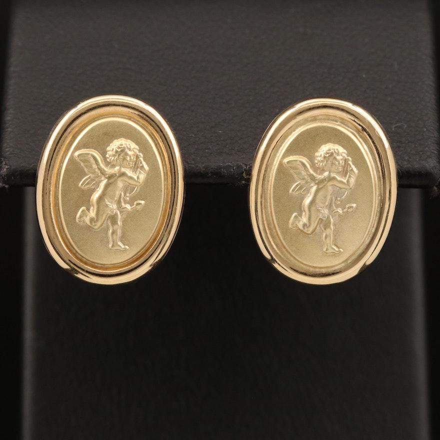 14K Cupid Button Earrings